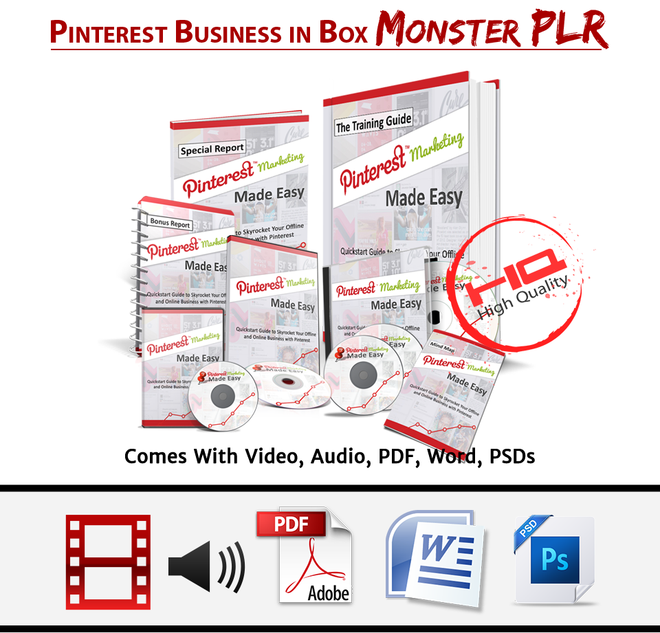 """Pinterest Business In a Box"" Monster PLR"
